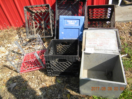 Five Milk Crates, Blue Seltzer Crate; Home Delivery Diary Box, Acorin Ind.,