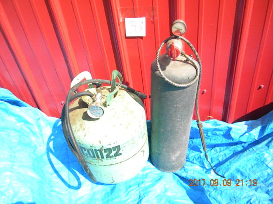 Portable Air Tank (converted Gas Tank); Acetylene Tank And Torch, Full.