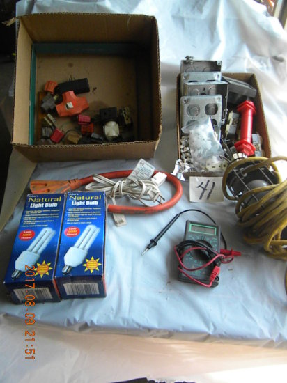 Box: Electrical Plugs, Wire; Trouble Light; Tester; Etc.