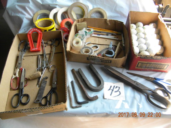 Box: Golf Balls; Tape; Scissors And Shears.