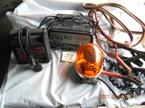 Jumper Cables; Amber Rotating Light. Pair Of Battery Chargers= 10/2 Amp & 3