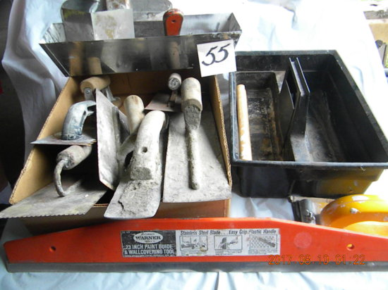 Drywall Tools And Concrete Fininshing Tools In A Plastic Tool Container.