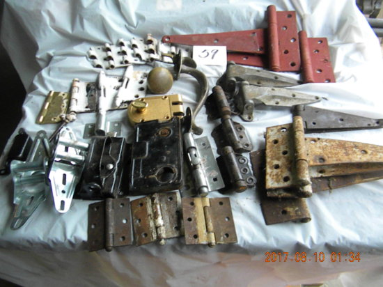 Misc. metal hinges, locks,