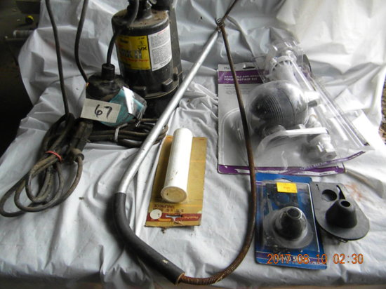 Lot: Plumb Bob; Toilet Repair Kit; Mark Ii Sump Pump, 110 V.; Etc.