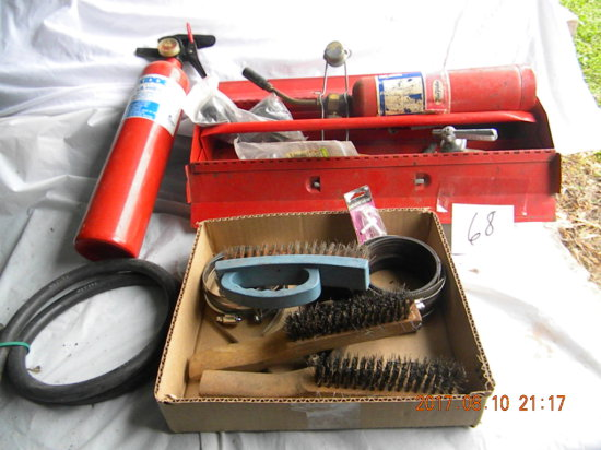Lot: Fire Extinquisher; Propane Torch; Wire Brushes, Pump And More.