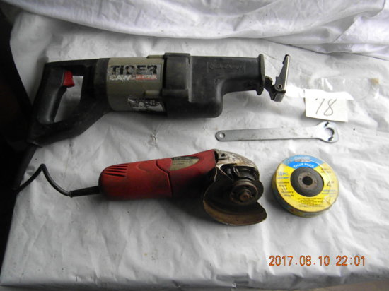 Tiger Quick Sawzall (works) With Case Crack; Tool Shop Angle Grinder W/whee