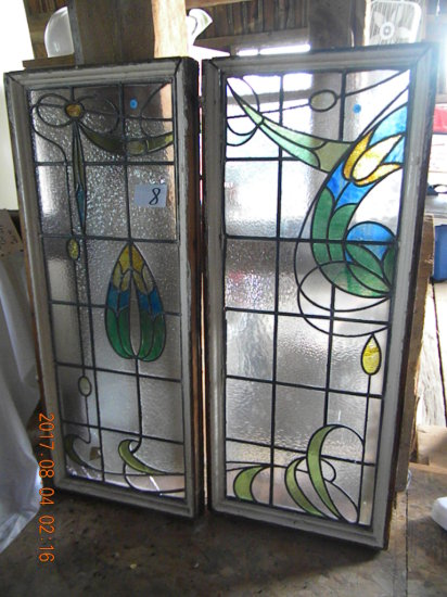 """Pair Of Leaded Glass Windows, 47' X 21"""". One Has Damage."""