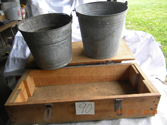 Wooden Ammo Box; Pair Of Galvanized Pails.