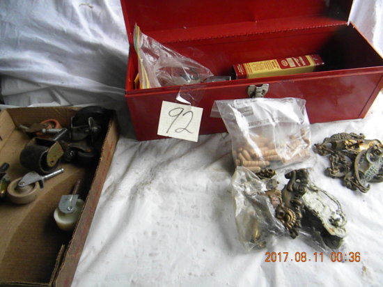 Red Metal Box Contains Furniture Repair Items.