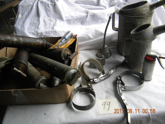 Box= Five Grease Guns; Oil Cans; Pair Of Oil Containers ( 1 Qt. & 1/2 Gal.)