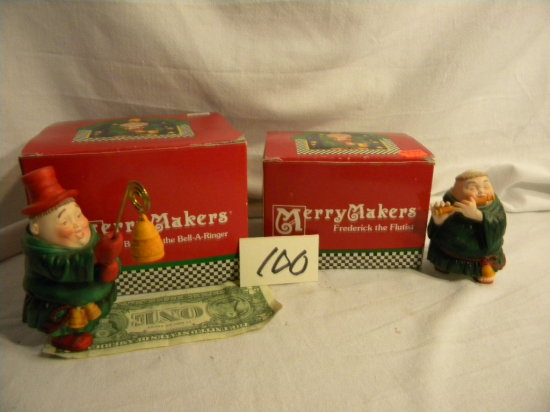 """Department 56 Merrymakers=""""brenwell The Bell-a-ringer""""; Fredrick The Flutis"""