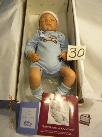 "Ashton Drake Gallery Doll: 19"", ""sweet Dreams"", Baby Mathew, Whde"