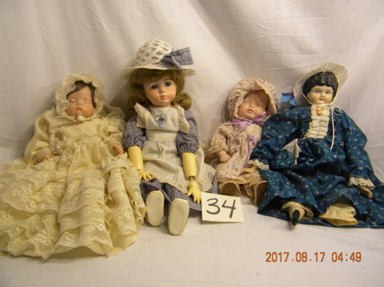 """Four Miscellaneous Dolls: 12"""",14', 19"""" 7"""" Ceramic Head And Hands 05190"""