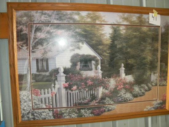 Framed Print: Floral Print . Not Signed, Matted/framed, 27 X 39'