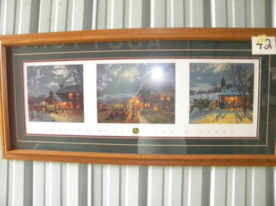 """Framed Print: Barn House - Nothing Runs Like A Deere, 19 X 43"""", Matted/fram"""