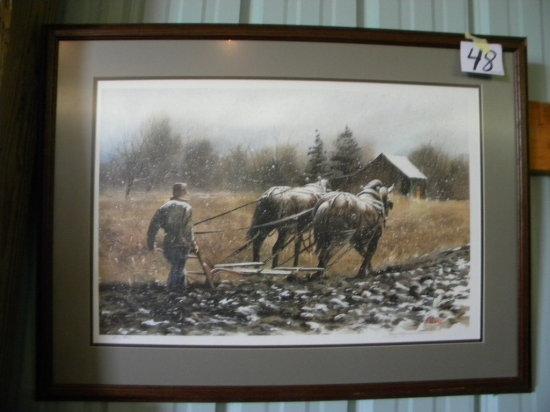 "Framed Print:killian © - The Last Furrow 294/980, Matted/framed, 251/2x34"""
