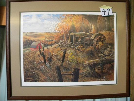 Framed Print: Charles Freitage - Old Tractor Farm Scene, Matted/framed, 26
