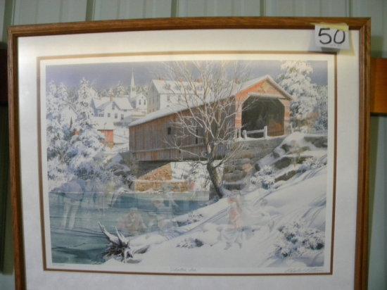 "Framed Print:c.L. Peterson - Skating Ice, 237/2800, Matted/framed, 27x34""."
