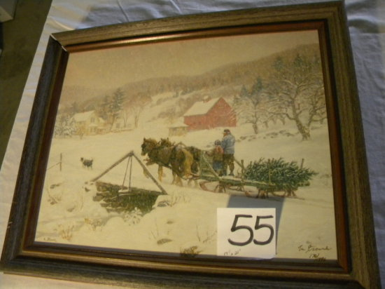 """Framed Print, Canvas, """"bringing In The Tree"""", By Lee Stroncek, 14 X 21"""","""