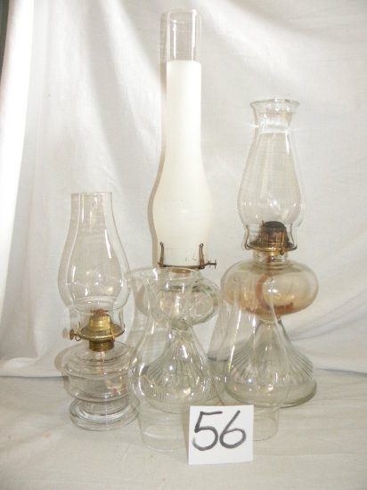 Three Oil Lamps, Two Extra Chimneys.