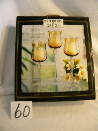 Gold Graduated Stemmed Candle Holders, Three