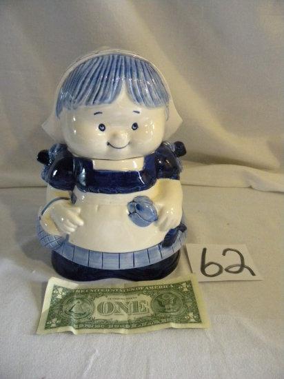 "Delft Cookie Jar, 9""h ."