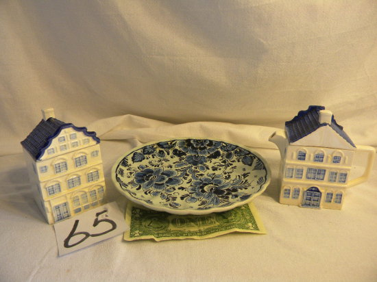 Delft Creamer And Sugar Set.W/lids; Hand Painted Plate 8 1/4 In Diam.