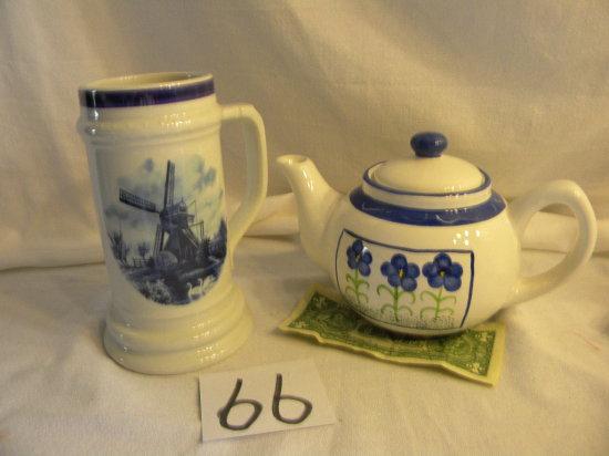 Delft Beer Stein; Tea Pot