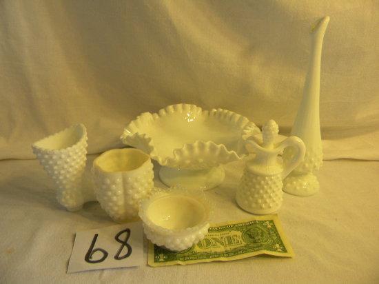"Milk Glass Hob Nail= Stem Bowl, 3""h X 8""d; Candle Holder; Small Bowl. 6 Pie"