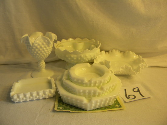Milk Glass Hob Nail= Ash Trays; Bowl; Candle Holder, 7 Pieces..