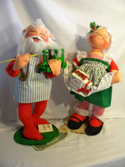 """By AnnaLee, Pair Mr. And Mrs. Santa Claus, 18""""h."""