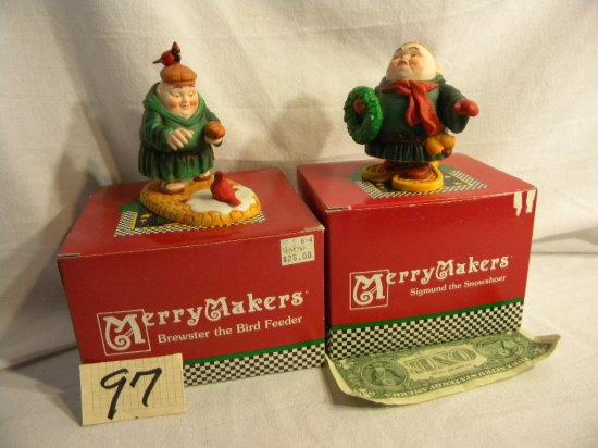 "Department 56 Merrymakers=""brewster The Bird Feeder""; ""sigmore The Snowshoe"