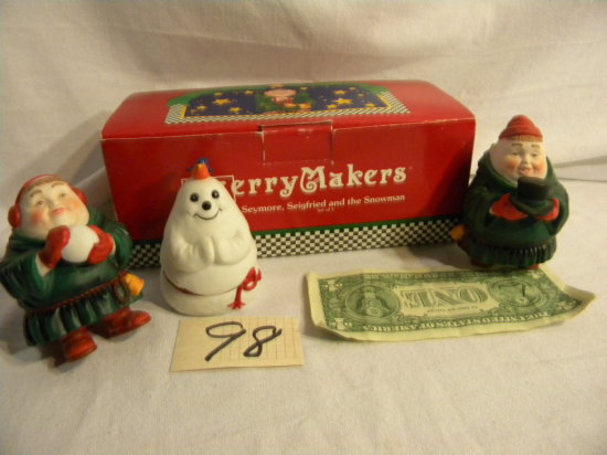 """Department 56 Merrymakers=""""seymore Siegfried And The Snowman""""."""