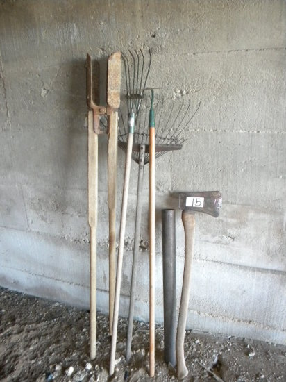 Yard Tools= Post Hole Digger; Single Bit Ax/maul; Hoe; Pair Of Rakes.