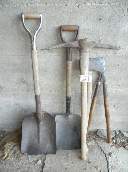 Yard= Splitting Ax; 2 Shovels; Limb Cutter; Pick.
