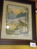 Print= Buck And Doe With Mountain Scene. Walnut Finish Frame, Matted, Glass
