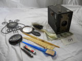 Agfa Box Camera; Music Staff Thermometer; Jack Knife; Misc. Personal Items.