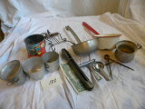 Misc= Red Handle Enamal Dipper; Flour Sifter; Measuring Cup; Jar Removal Et