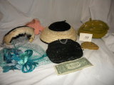 Lot= Ladies Hats; Black Beaded Purse; Leather Gloves.