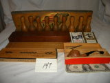Clarsons Pipe; 3 Cribbage Boards; Small Wood Pins (1 Missing).