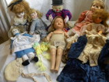 Old Porcelean Faced Dolls (7), Clown, Doll Cloths.