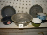 Large Aluminum Wash Basin; Four Graniteware Pans.