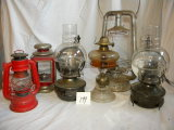 Barn Lantern W/o Glass; 2 Kerosene Wall Lamps W/fixtures; And Others/