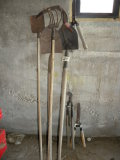 Yard Tools= Pair Hand Scythes; 3 Shovels; Cultivator; Branch Trimmer; Hedge
