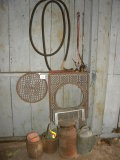 Pair Of Metal Floor Grates; Bowman Dairy Cream Can; Water Can; Rodent Trap;