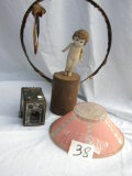 Cupid Doll; Brownie Box Camera; Depression Pink Glass Lamp Shade.