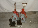 Two Sets Of Jack Stands; Pair Of Hydraulic Jacks.