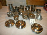30 Piece Stainless=cups, Saucers, Bowl Covers, Etc.; Antique Aluminum Serve