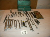 Miscellaneous Tool Box-large Variety Of Wrenches, Punches, Pliers, Etc.; Se