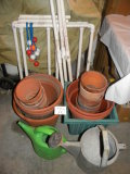 Pair Of Sprinkling Cans; Misc. Flower Pots; Yard Game.